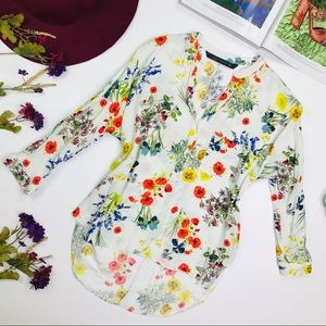 [Zara] All Over Poppy Floral Print Top Size Small
